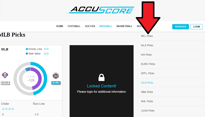AccuScore Website navigation 2